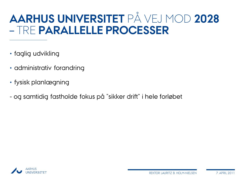 AARHUS UNIVERSITET PÅ VEJ MOD 2028 – TRE PARALLELLE PROCESSER
