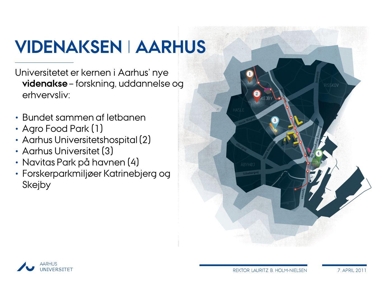 VIDENAKSEN I AARHUS Universitetet er kernen i Aarhus' nye videnakse – forskning, uddannelse og erhvervsliv:
