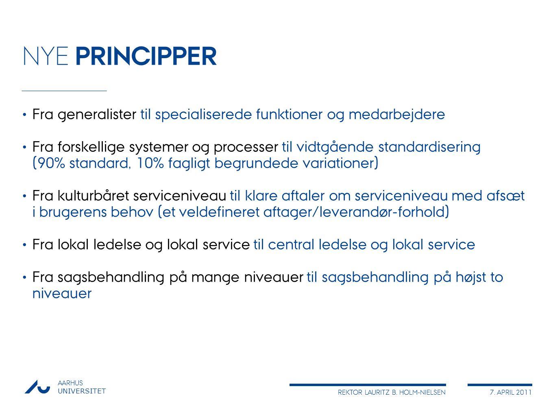 NYE PRINCIPPER Fra generalister til specialiserede funktioner og medarbejdere.