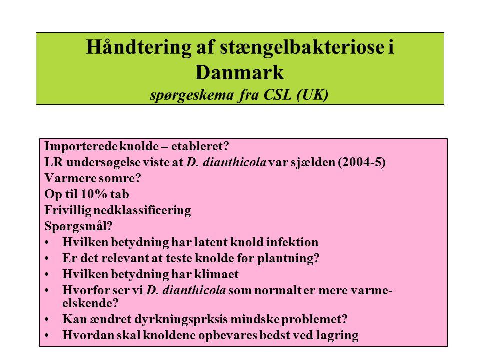 Håndtering af stængelbakteriose i Danmark spørgeskema fra CSL (UK)