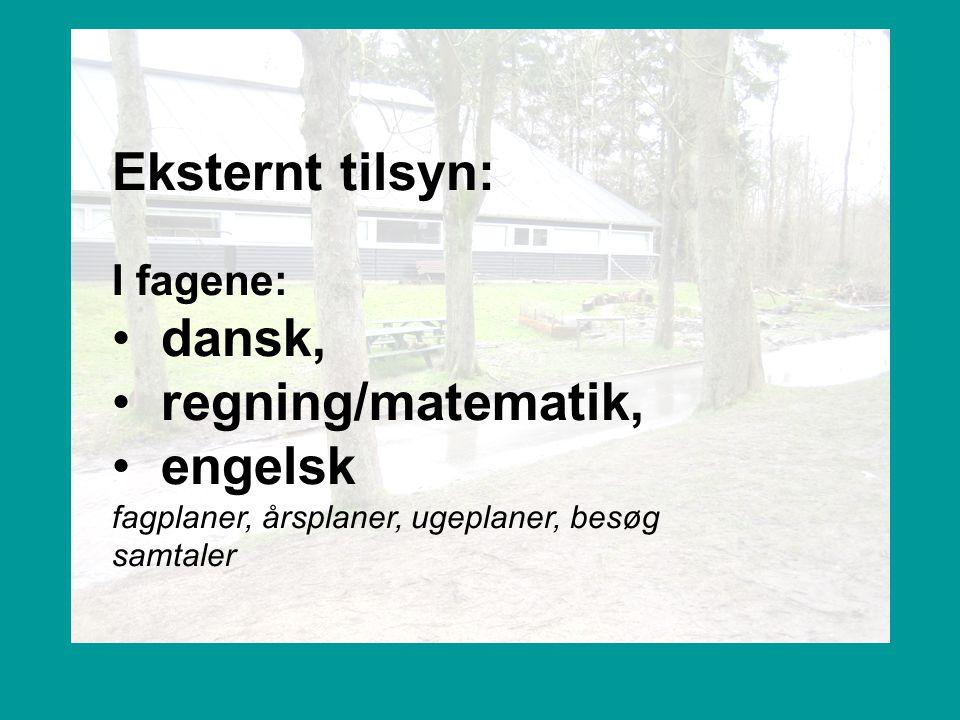 Eksternt tilsyn: dansk, regning/matematik, engelsk I fagene: