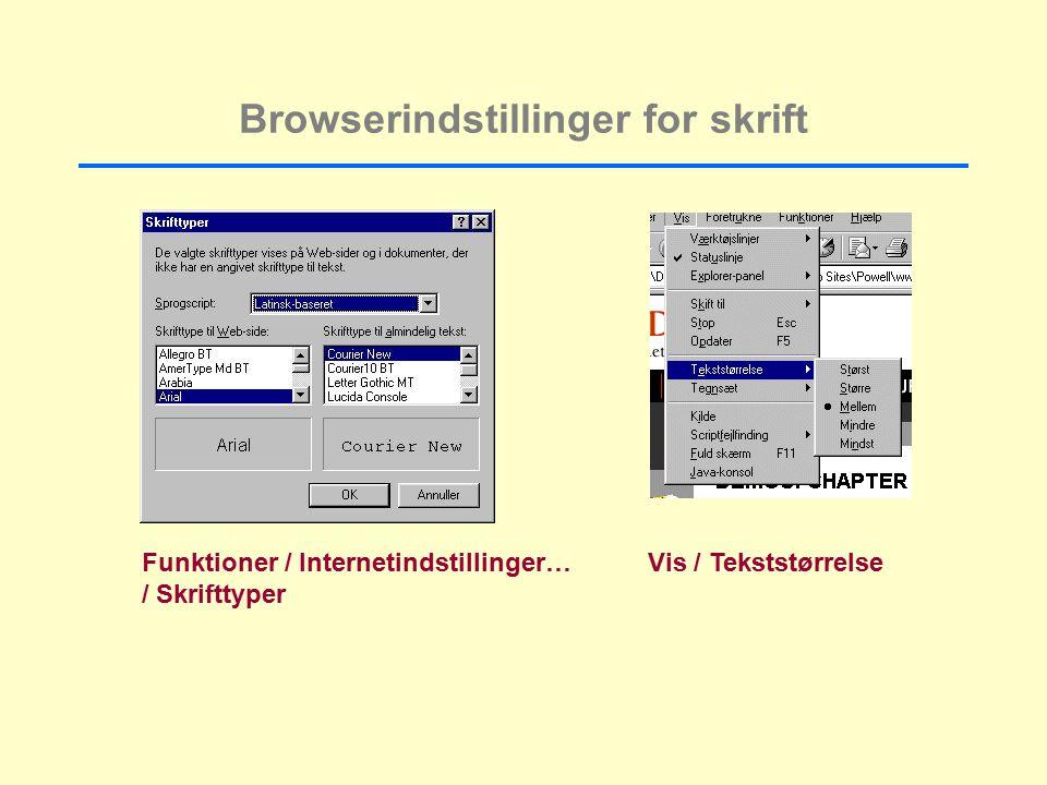 Browserindstillinger for skrift