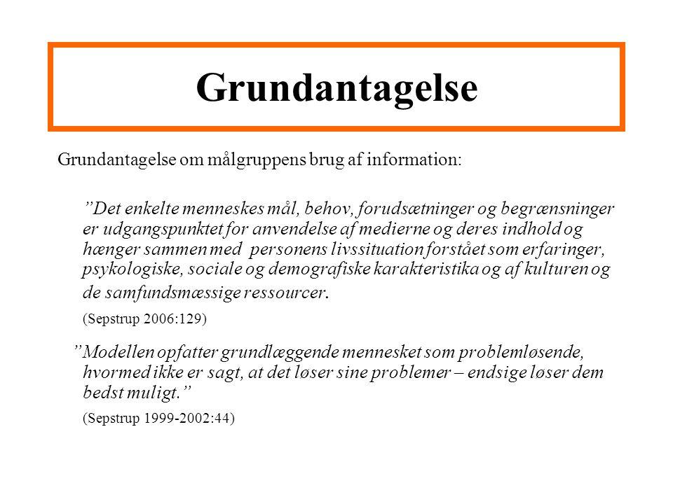 Grundantagelse Grundantagelse om målgruppens brug af information:
