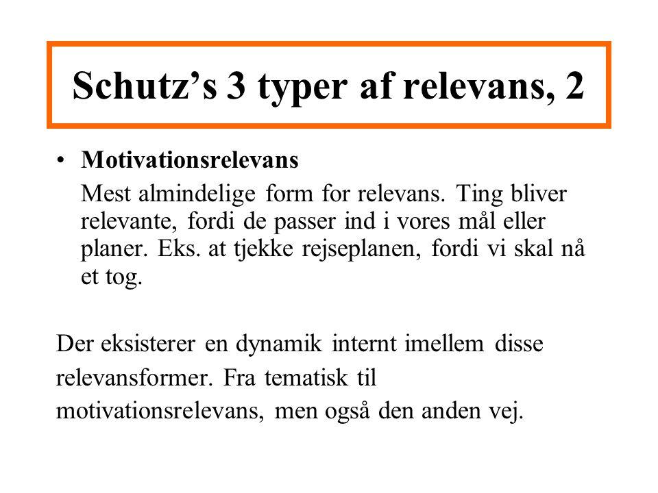 Schutz's 3 typer af relevans, 2