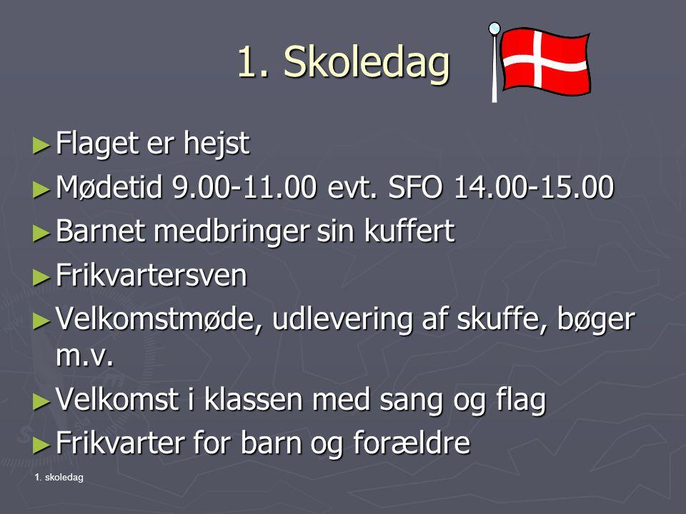 1. Skoledag Flaget er hejst Mødetid 9.00-11.00 evt. SFO 14.00-15.00