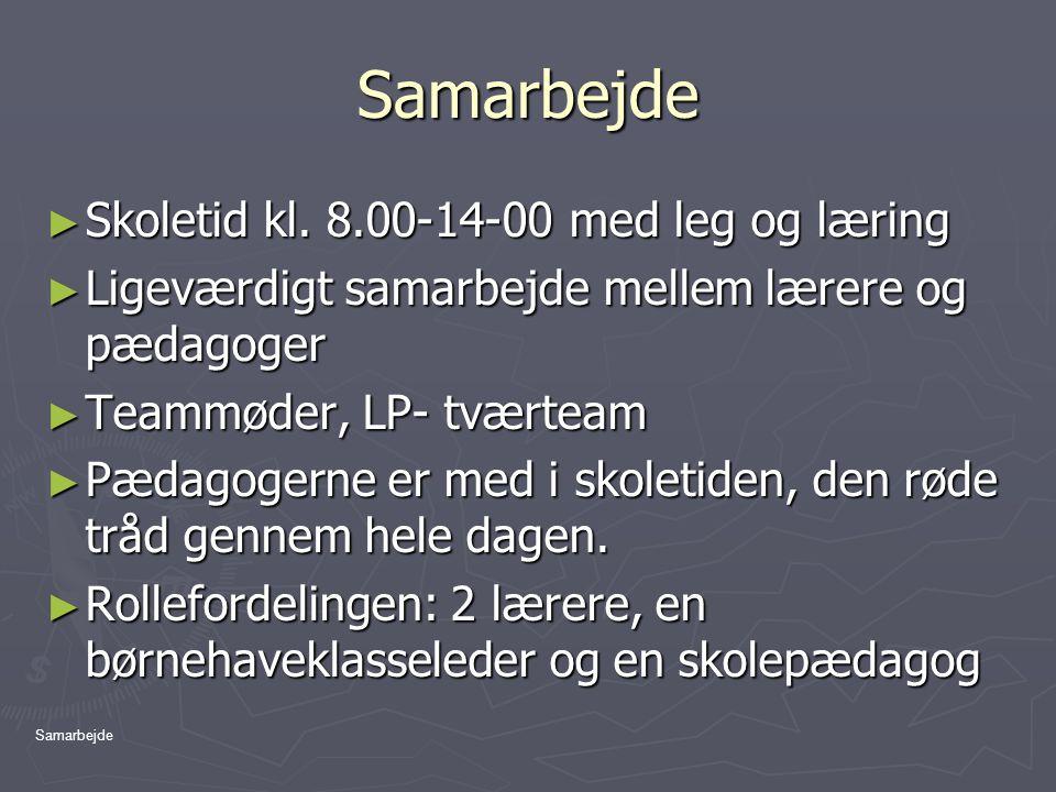 Samarbejde Skoletid kl. 8.00-14-00 med leg og læring