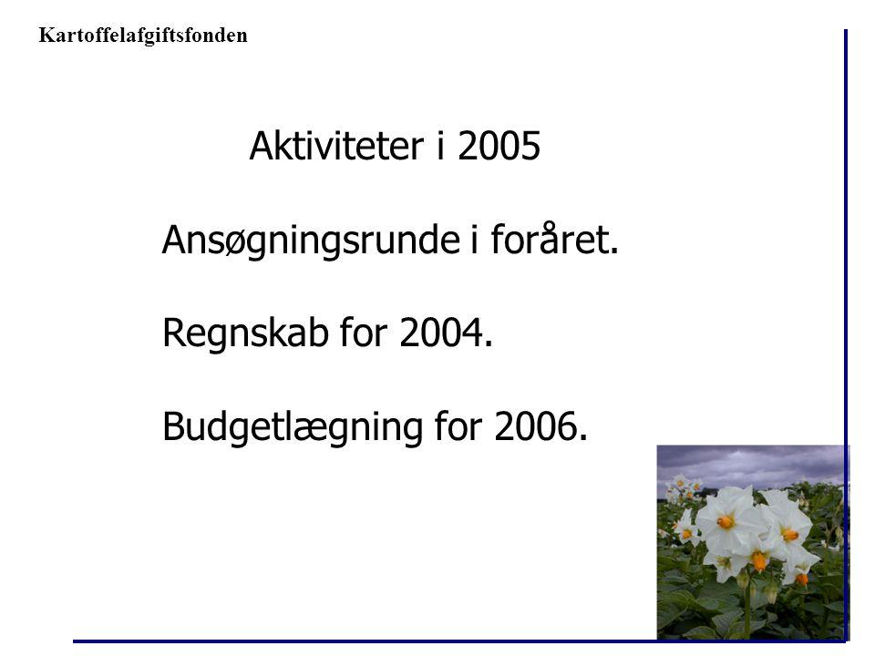Ansøgningsrunde i foråret. Regnskab for 2004. Budgetlægning for 2006.