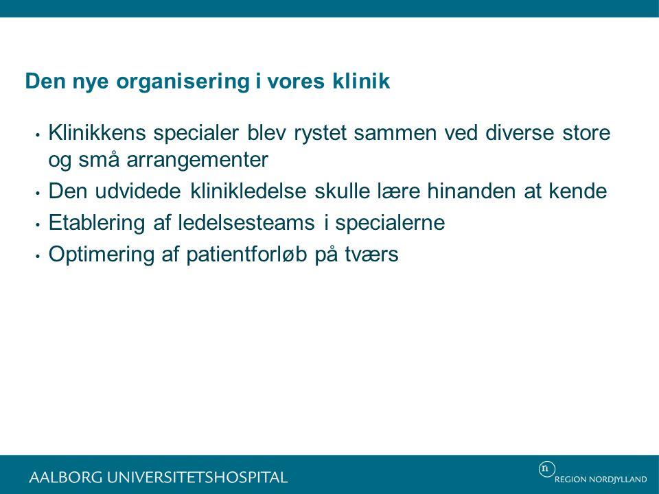 Den nye organisering i vores klinik