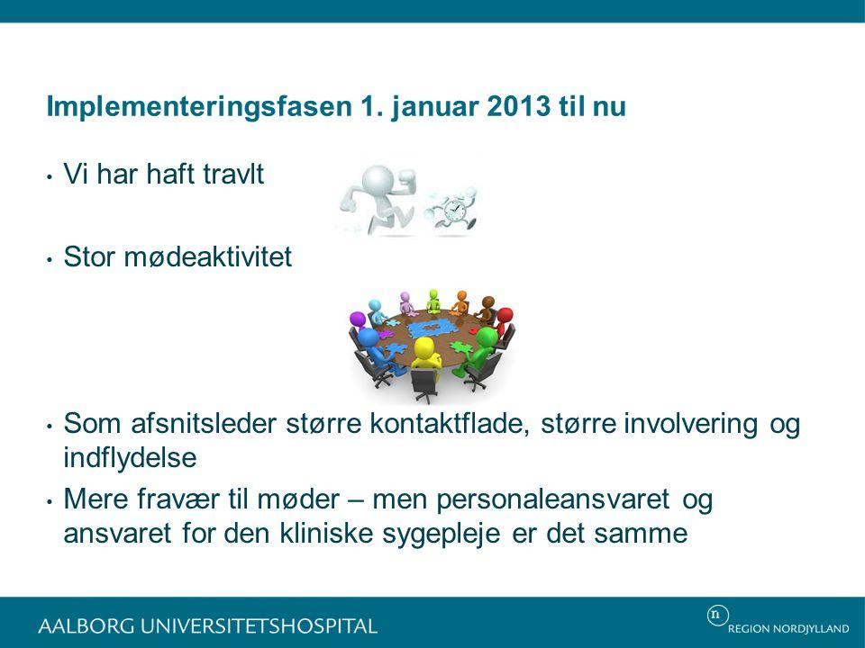 Implementeringsfasen 1. januar 2013 til nu
