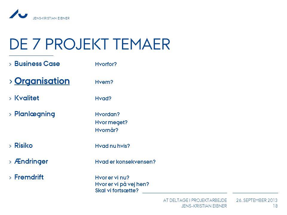 De 7 Projekt Temaer Organisation Hvem Business Case Hvorfor