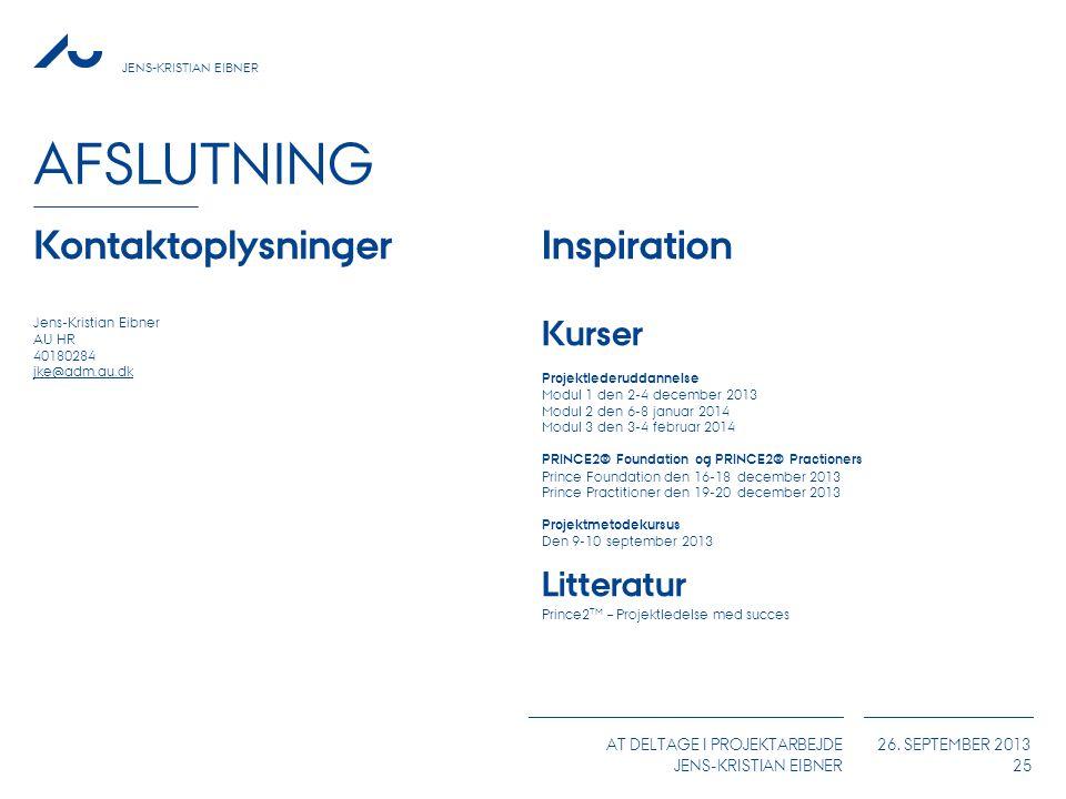 Afslutning Kontaktoplysninger Inspiration Kurser Litteratur