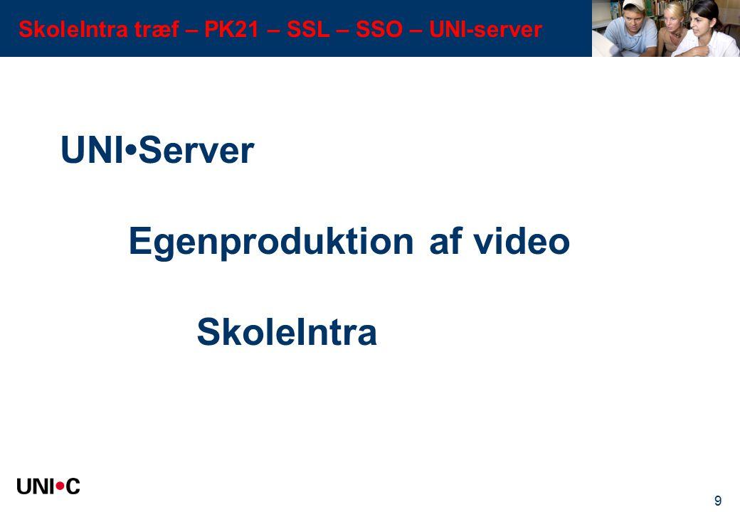 UNI•Server Egenproduktion af video SkoleIntra