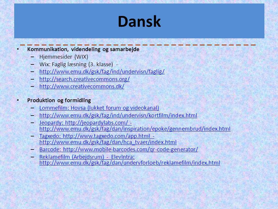 Dansk Kommunikation, videndeling og samarbejde Hjemmesider (WIX)
