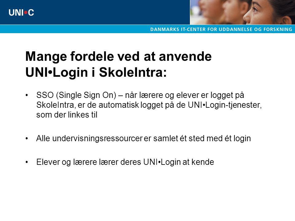 Mange fordele ved at anvende UNI•Login i SkoleIntra: