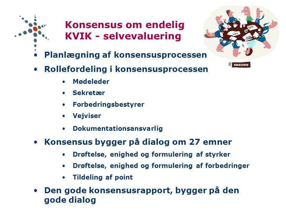 Konsensus om endelig KVIK - selvevaluering