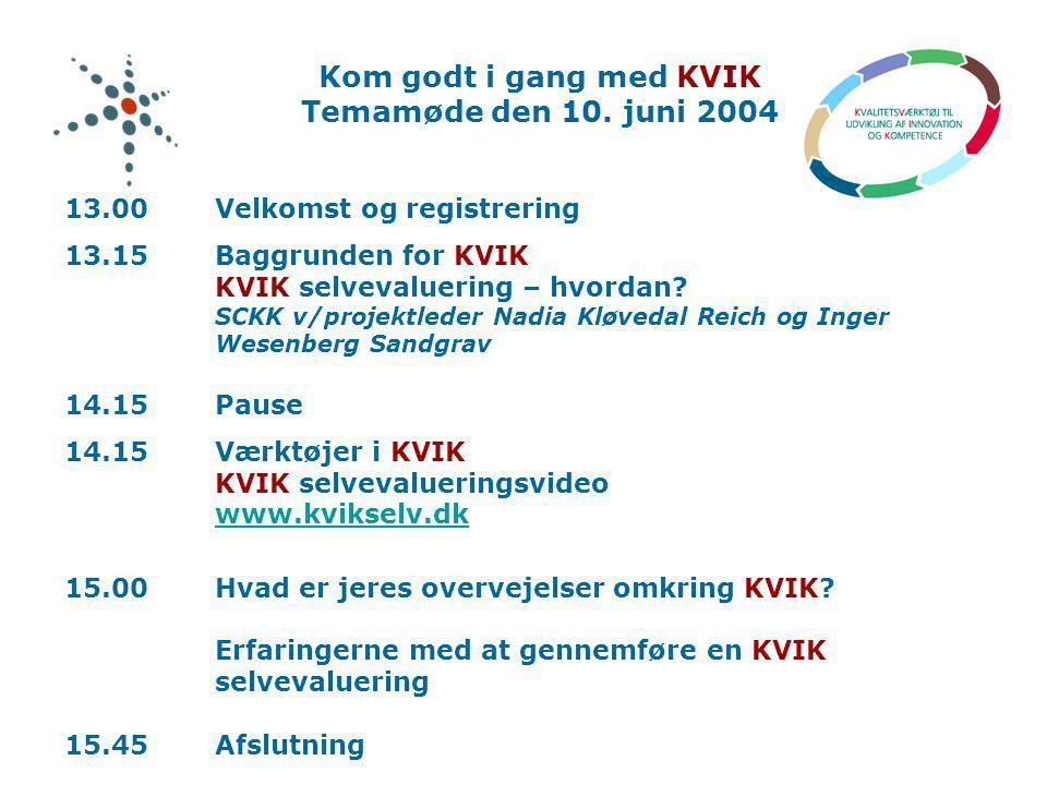 Kom godt i gang med KVIK Temamøde den 10. juni 2004
