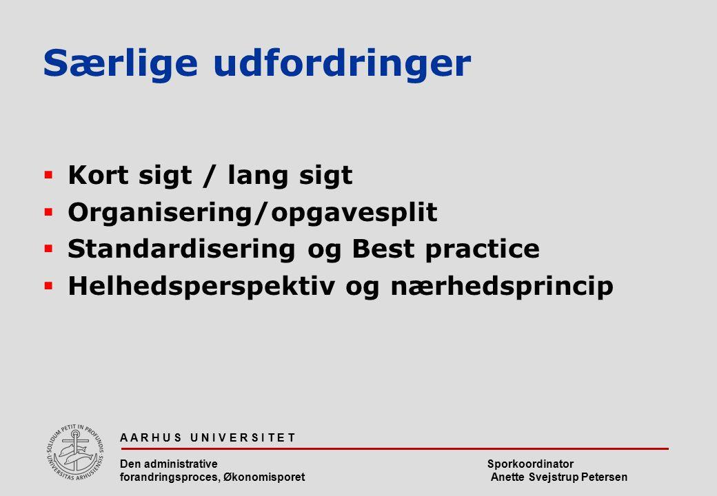 Særlige udfordringer Kort sigt / lang sigt Organisering/opgavesplit