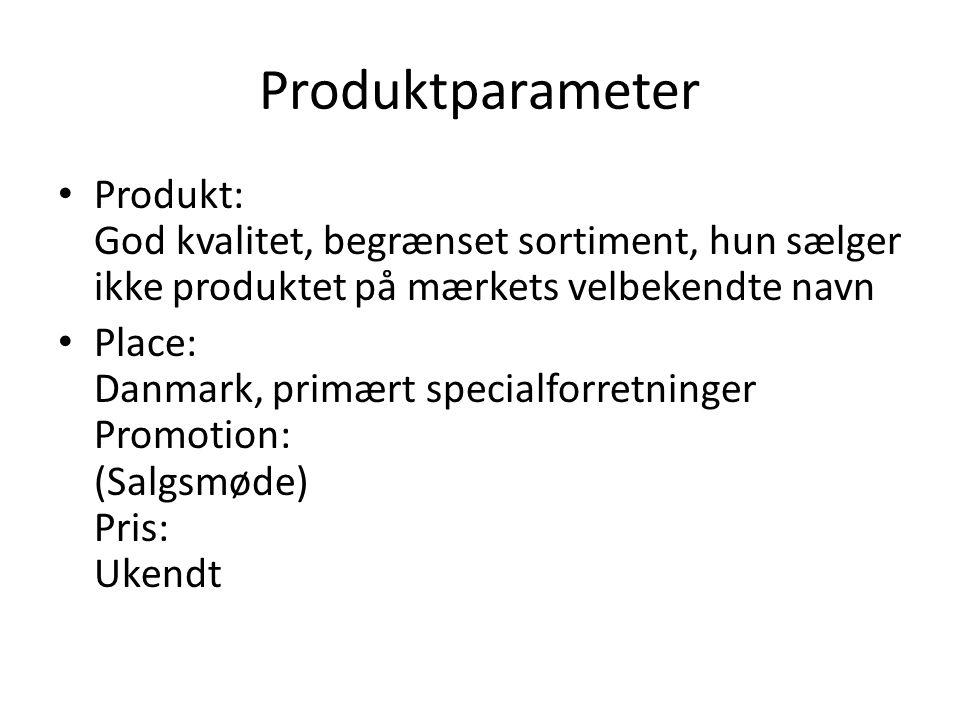 Produktparameter Produkt: God kvalitet, begrænset sortiment, hun sælger ikke produktet på mærkets velbekendte navn.