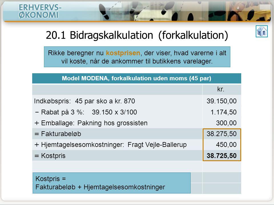 20.1 Bidragskalkulation (forkalkulation)