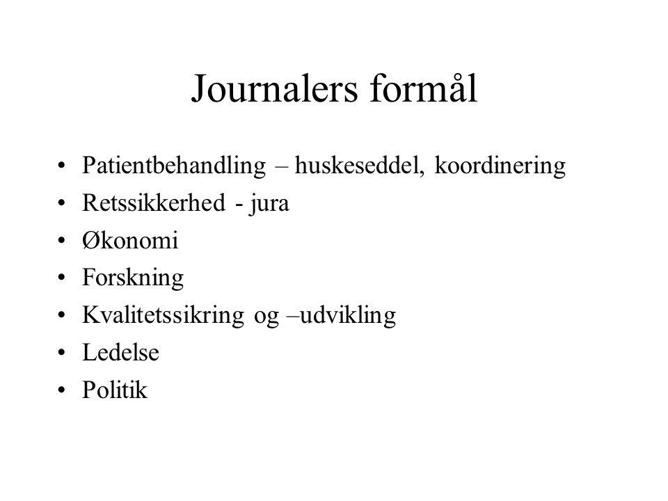 Journalers formål Patientbehandling – huskeseddel, koordinering