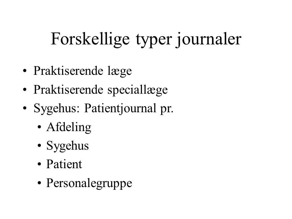 Forskellige typer journaler