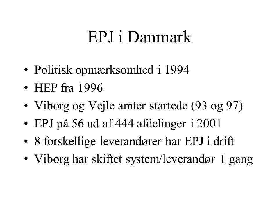 EPJ i Danmark Politisk opmærksomhed i 1994 HEP fra 1996
