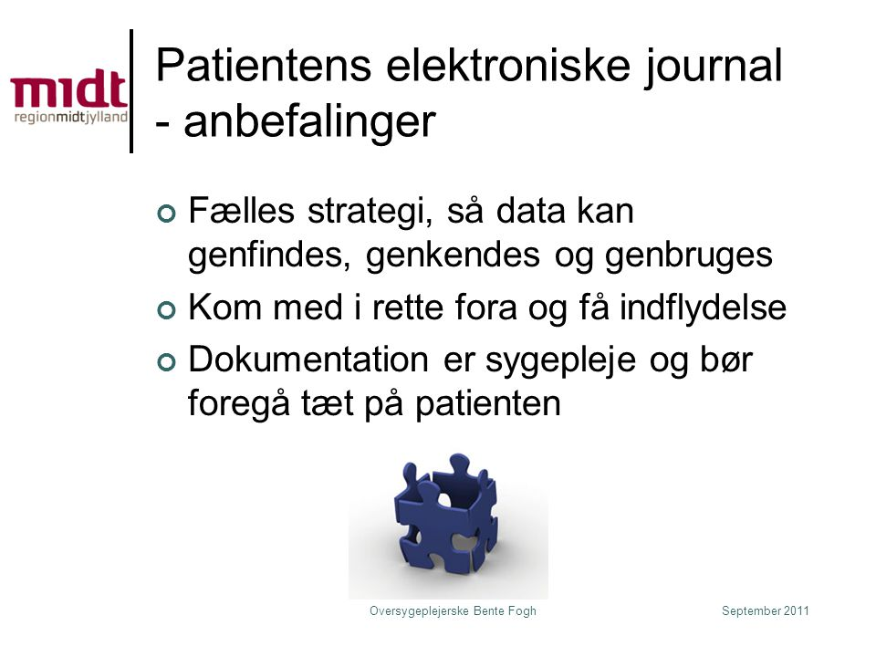 Patientens elektroniske journal - anbefalinger