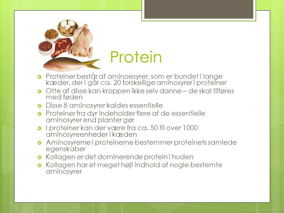 Protein Proteiner består af aminoesyrer, som er bundet i lange kæder, der i går ca. 20 forskellige aminosyrer i proteiner.