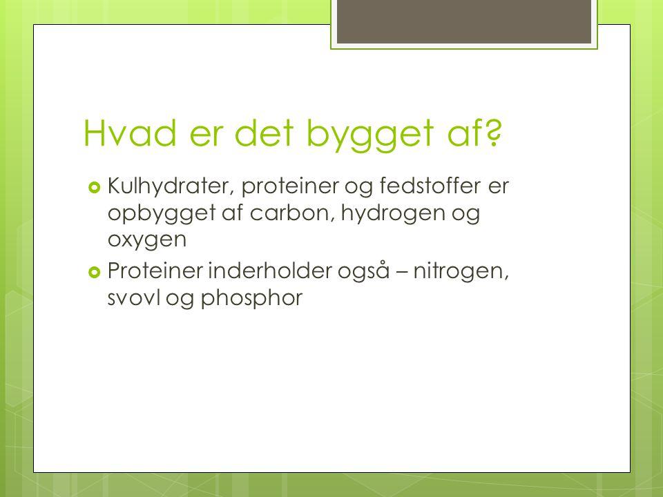 Hvad er det bygget af Kulhydrater, proteiner og fedstoffer er opbygget af carbon, hydrogen og oxygen.