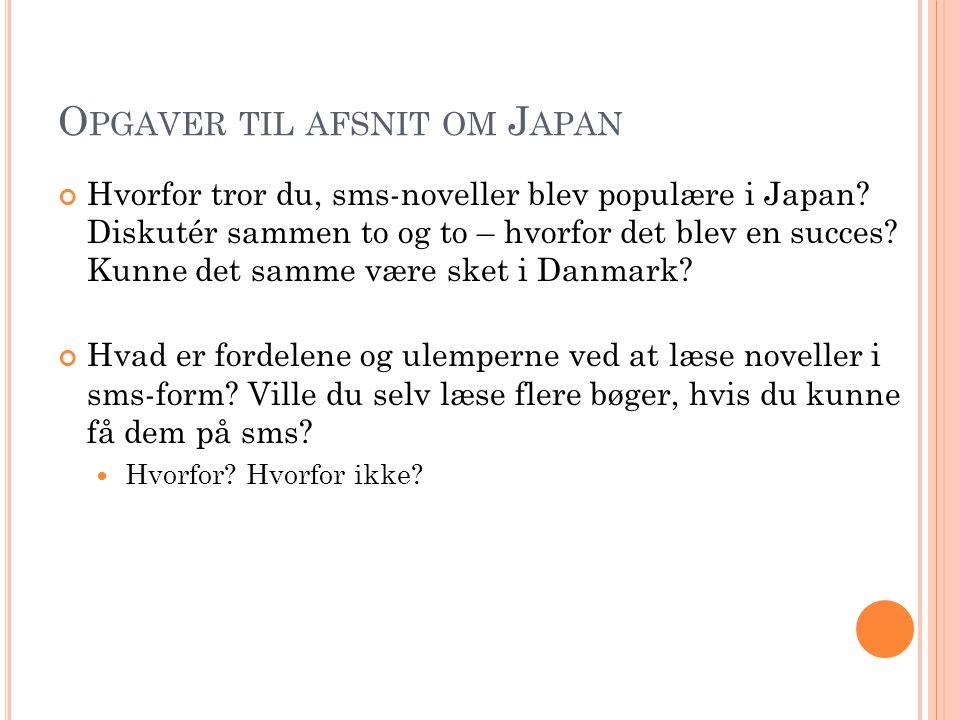 Opgaver til afsnit om Japan