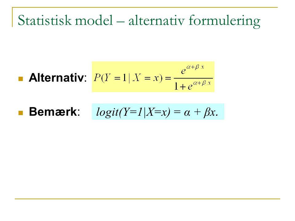 Statistisk model – alternativ formulering