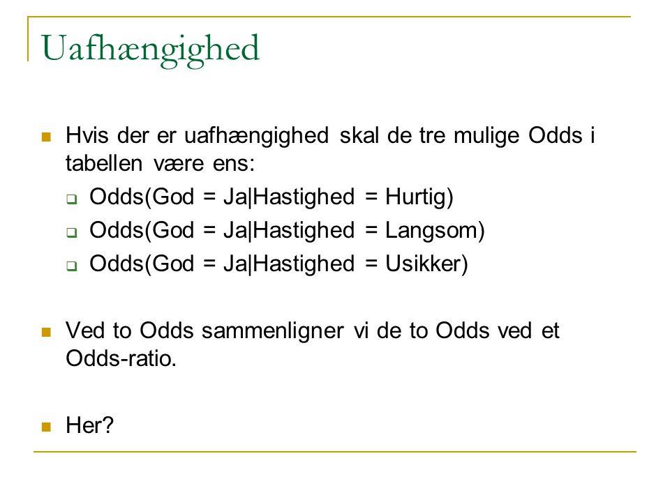 Uafhængighed Hvis der er uafhængighed skal de tre mulige Odds i tabellen være ens: Odds(God = Ja|Hastighed = Hurtig)