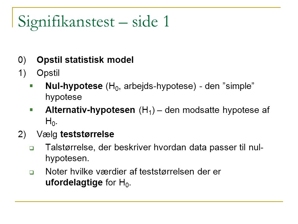 Signifikanstest – side 1