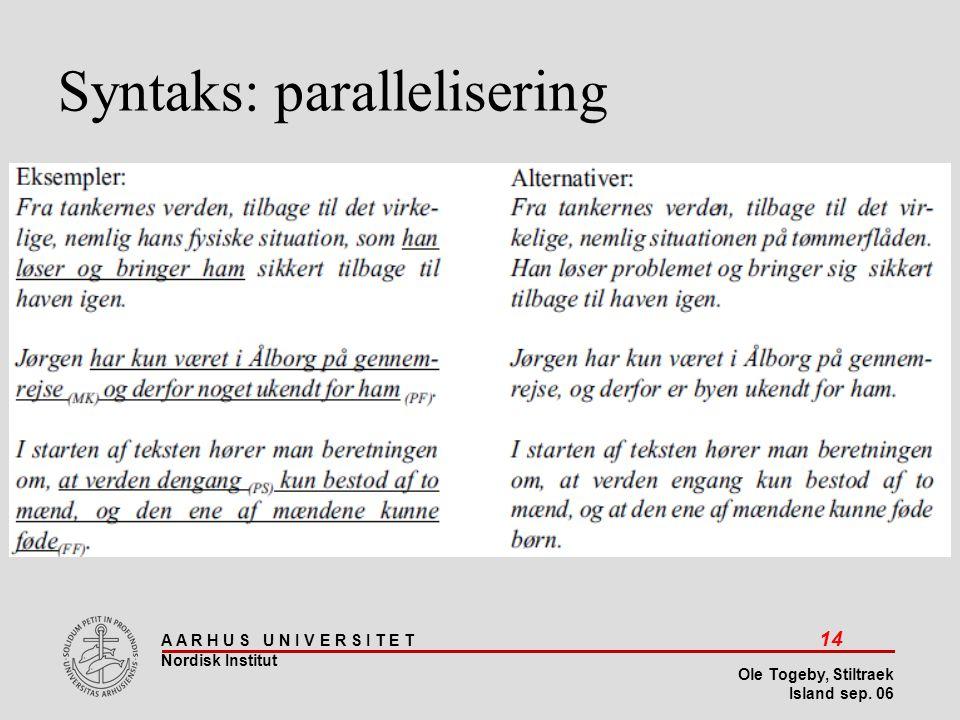 Syntaks: parallelisering