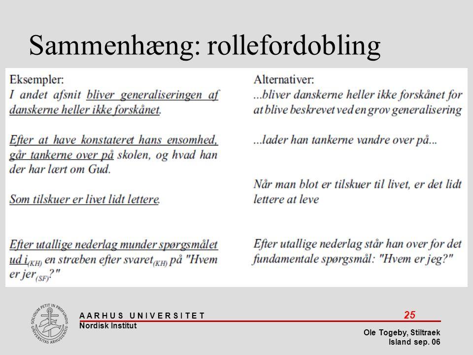Sammenhæng: rollefordobling
