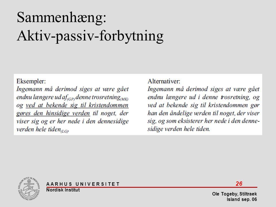 Sammenhæng: Aktiv-passiv-forbytning
