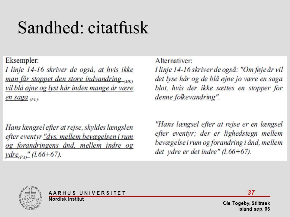 Stiltræk 08-04-2017 Sandhed: citatfusk Island sep 06