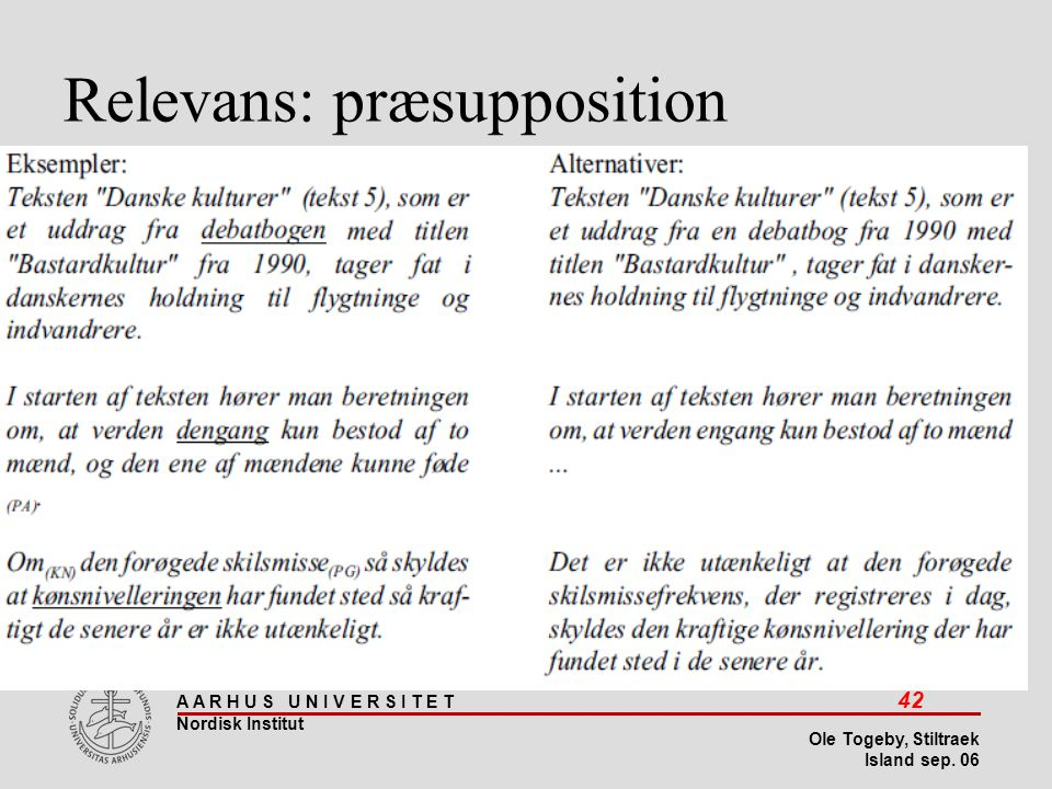 Relevans: præsupposition