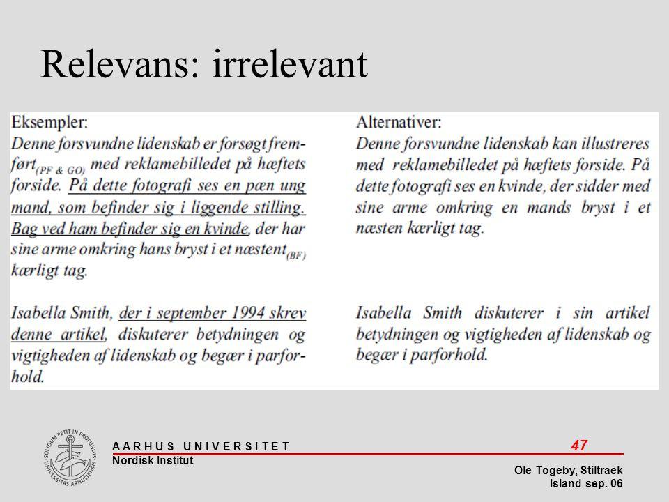 Stiltræk 08-04-2017 Relevans: irrelevant Island sep 06