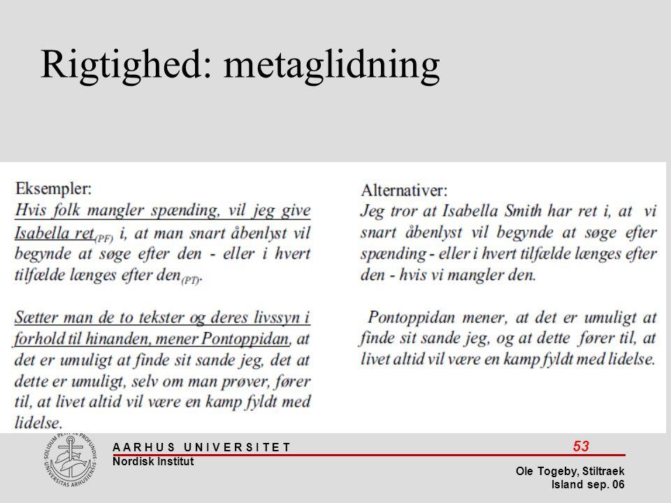 Rigtighed: metaglidning