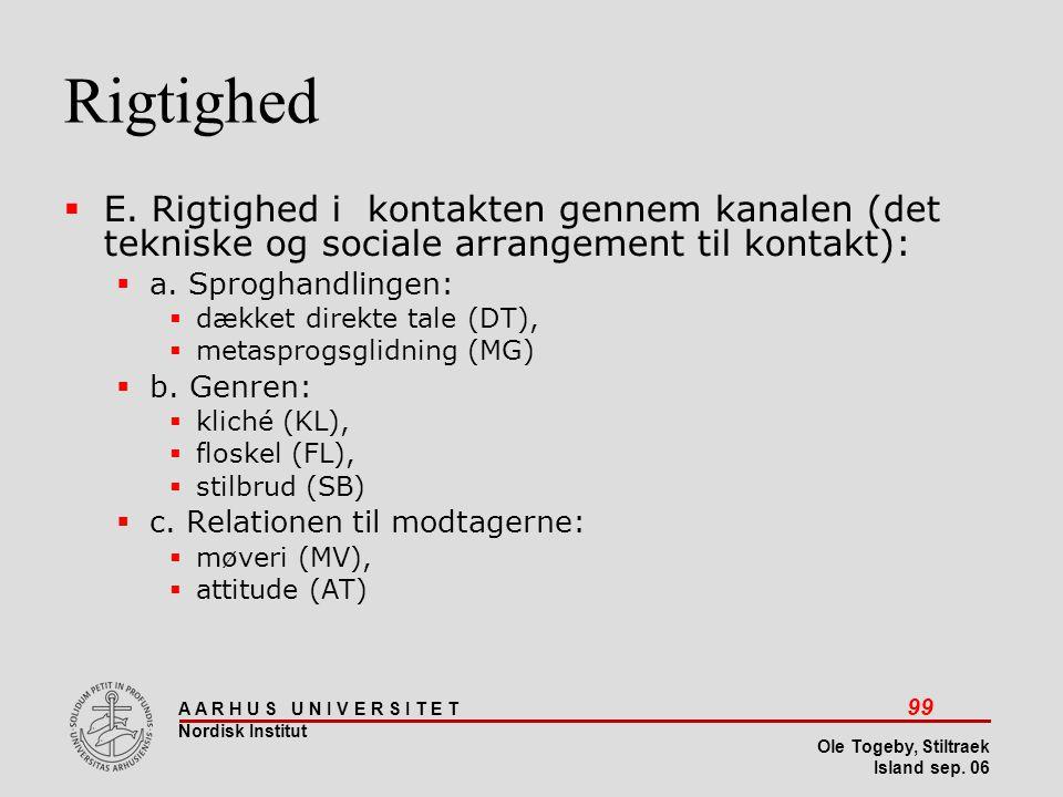 Stiltræk 08-04-2017. Rigtighed. E. Rigtighed i kontakten gennem kanalen (det tekniske og sociale arrangement til kontakt):