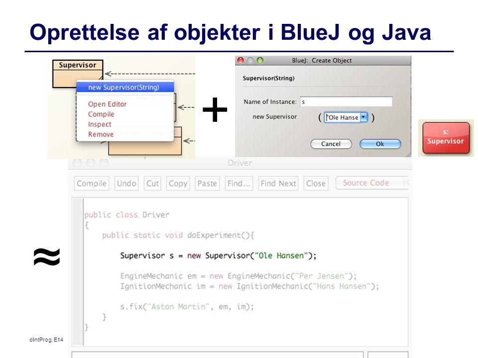 Oprettelse af objekter i BlueJ og Java