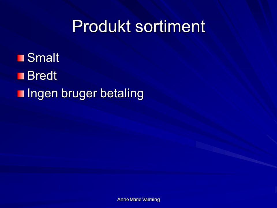 Produkt sortiment Smalt Bredt Ingen bruger betaling april 2017