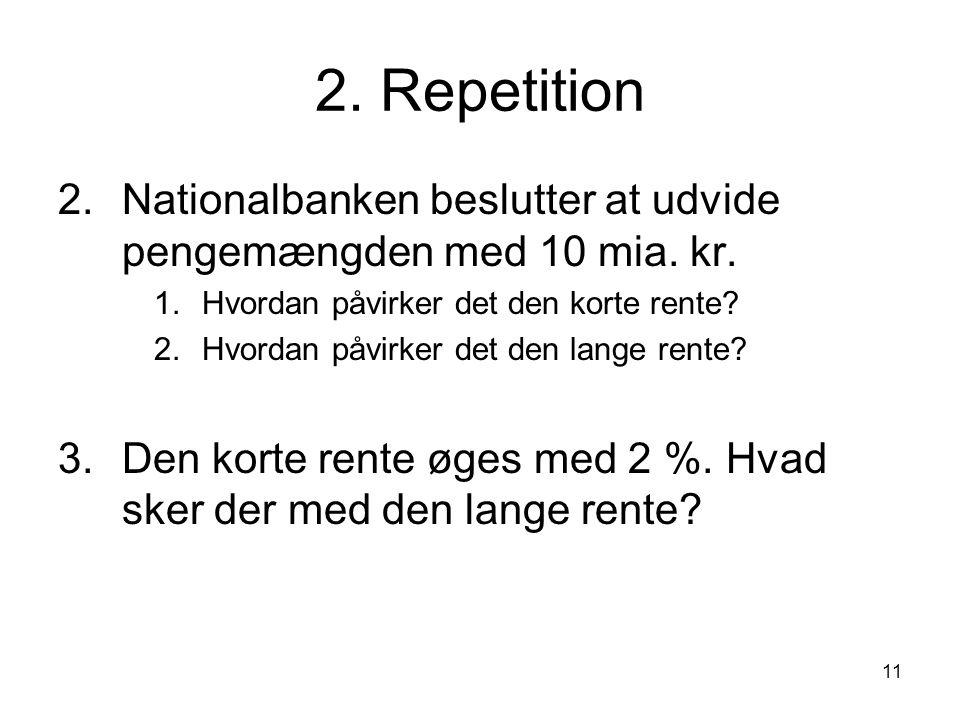 2. Repetition Nationalbanken beslutter at udvide pengemængden med 10 mia. kr. Hvordan påvirker det den korte rente