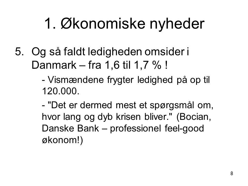 1. Økonomiske nyheder Og så faldt ledigheden omsider i Danmark – fra 1,6 til 1,7 % ! - Vismændene frygter ledighed på op til 120.000.