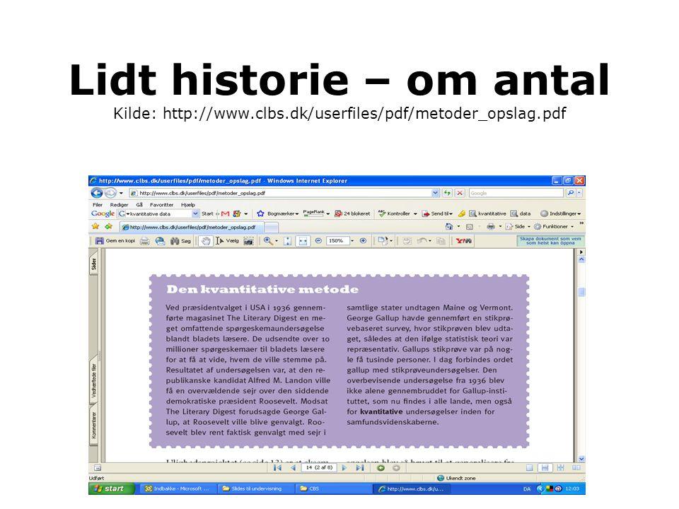 Lidt historie – om antal Kilde: http://www. clbs