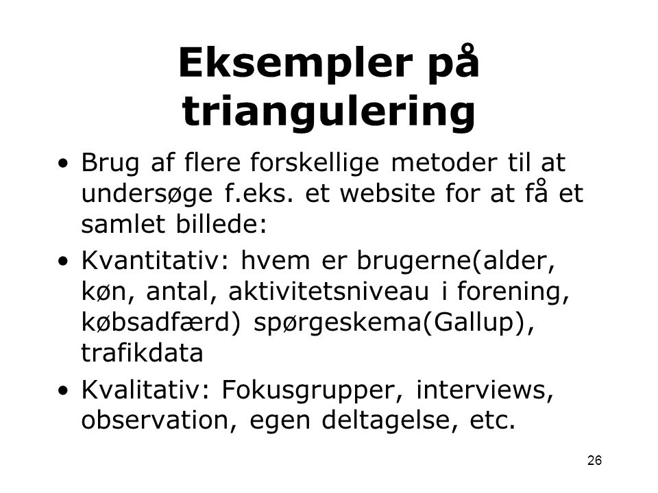 Eksempler på triangulering