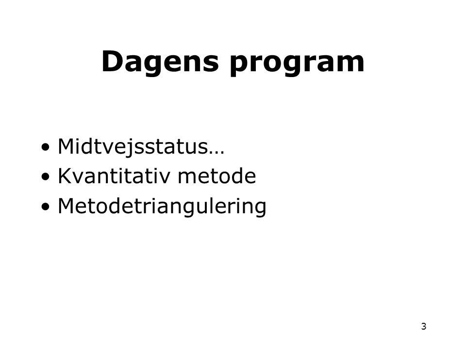 Dagens program Midtvejsstatus… Kvantitativ metode Metodetriangulering