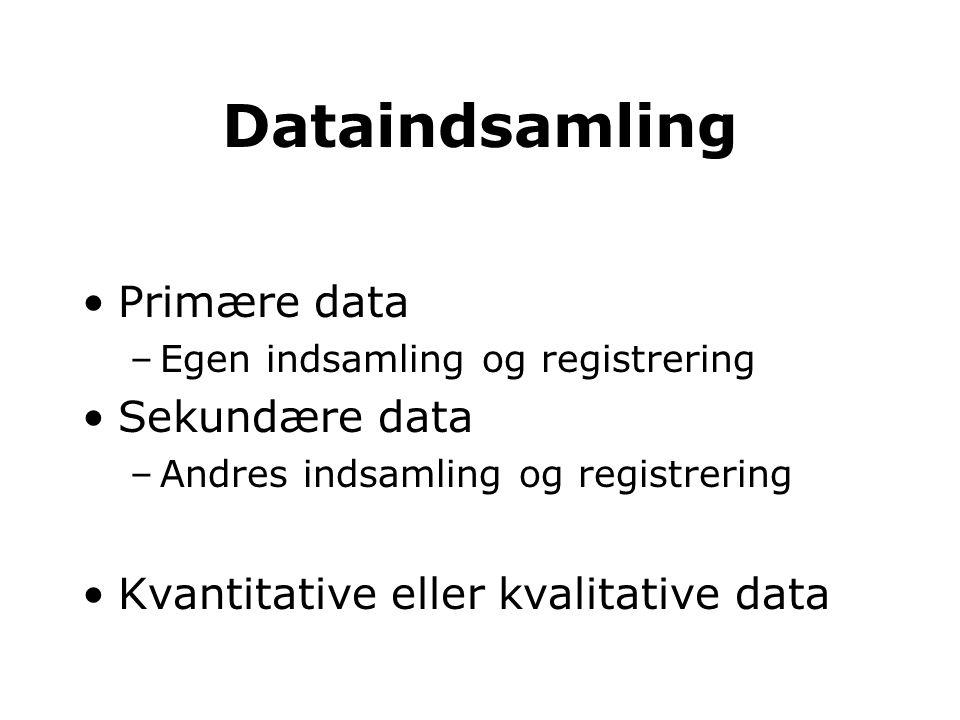 Dataindsamling Primære data Sekundære data