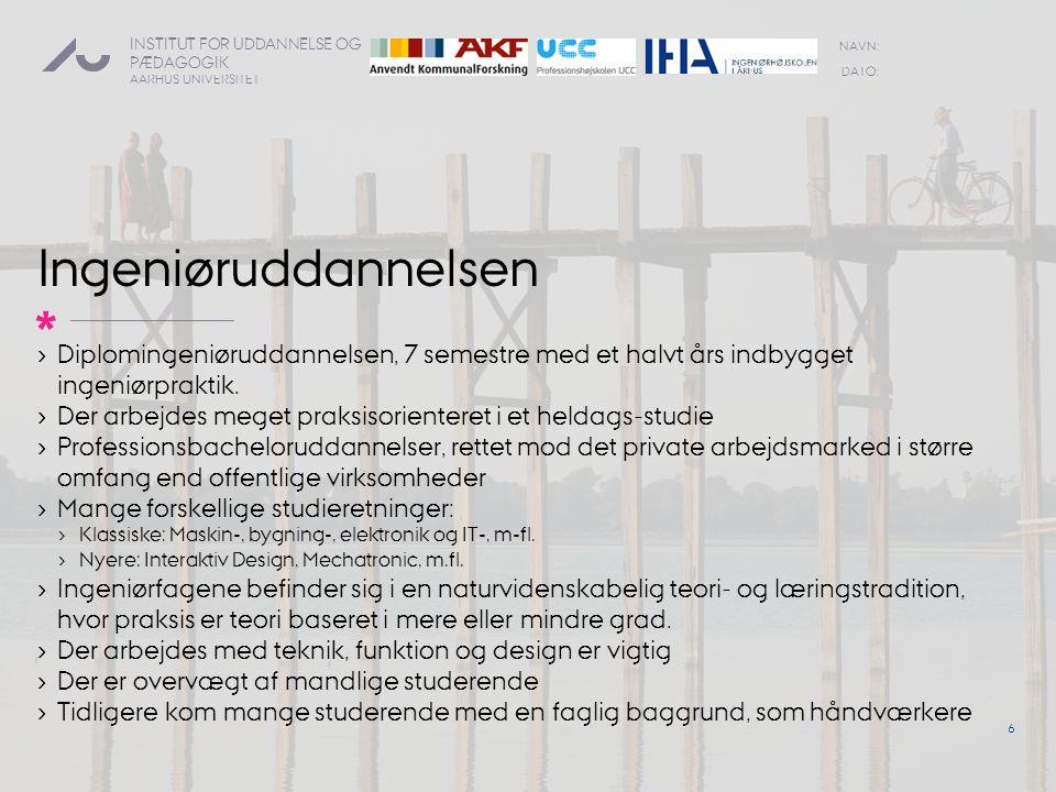 Ingeniøruddannelsen Diplomingeniøruddannelsen, 7 semestre med et halvt års indbygget ingeniørpraktik.